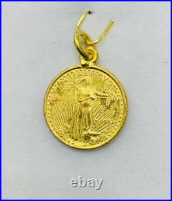 24K Solid Yellow Gold Coin Pendant 3.85Grams(519$)