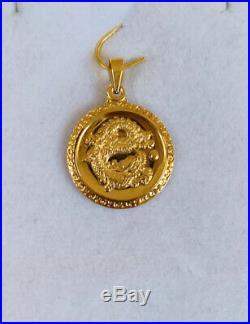 24K Solid Yellow Gold Lucky Coin Dragon Pendant 2.73Grams(299$)