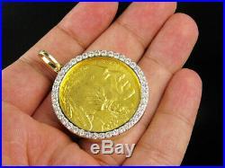 24K Yellow Gold 2008 Buffalo Indian Head 1 OZ Coin Diamond Pendant Charm 3.35ct