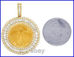 24K Yellow Gold American Eagle Liberty 1/4 OZ Coin Diamond Frame Pendant 3.0 Ct