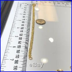 24K Yellow Gold Chinese Coin Bracelet 6 Grams women 6.75