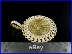 24K Yellow Gold Coin Lady Liberty 1/4 Ounce Solid Link Diamond Pendant 1.80 Ct