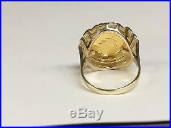 24 Kt Chinese Panda Bear Coin Set In 14 Kt Solid Yellow Gold 20 MM Coin Ring