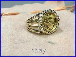 24 Kt Chinese Panda Bear Coin Set In 14 Kt Solid Yellow Gold Ladies Coin Ring