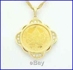 24ct Yellow Gold 1/10oz Canada Maple Leaf Coin 18ct Gold Frame Diamond Pendant