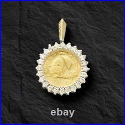 24k Fine Gold 1/10 Oz Chinese Panda Coin With. 50 Tcw Diamonds-14k Frame Pendant
