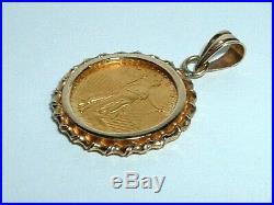 24k Gold. 999 Fine Gold 1/10 Oz Eagle Coin 14k Yellow Gold Frame Pendant Charm
