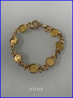24k Hawaiian King Queen Princess Coin W 14k Gold Link Bracelet