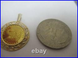 24k Yellow Gold Pendant Coin'endangered Wildlife' With Elephant On Front