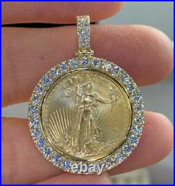2Ct Round Diamond Statue of Liberty Lady Coin Charm Pendant 14K Yellow Gold Over