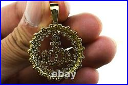 2.35 14K Yellow Gold Over Fashion Allah Religious Coin Bling Pendant Charm 2.0