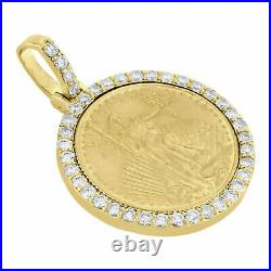2. Ct Diamond American Eagle Liberty Coin Mounting Pendant 14K Yellow Gold Over