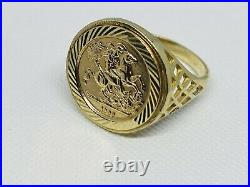 375 Solid 9ct Genuine Yellow Gold St George Sovereign Coin Ring 18mm Size P
