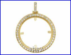 3 1/4 Ct Diamond Coin Bezel Frame Pendant 14K Yellow Gold FN 2