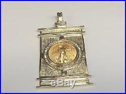 3.5 1.90 Tcw Diamonds 22k Gold 1/2 Oz Lady Liberty Coin -14k Frame Pendant