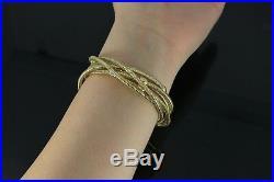 $4,320 Rare Roberto Coin 18K Gold Diamond Primavera 6 Multi Flexible Bracelet