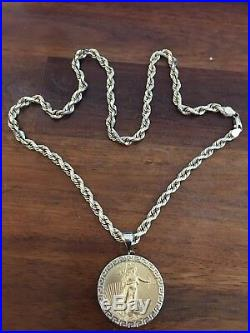 6mm 14k Gold Rope Chain with 1oz. 22k Gold Eagle Coin Pendant- 96.2gr (3+ troy oz)