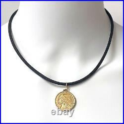 90% Pure Gold Indian Head Half Eagle Coin from 1910 in 14K Frame Pendant, 9.6g