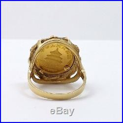 999 1/20 Oz Gold Panda Coin 1988 5 Yuan Set in 14K Gold Ring Sz 7 NEW