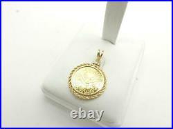 999 American Gold Bullion Coin 5 Gram Pendant with 14K Rope Bezel 6.9 Grams