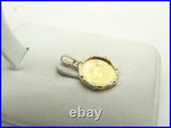 999 Chinese Gold Panda Coin 1/20 oz Pendant Charm with 14K Bamboo Leaf Bezel