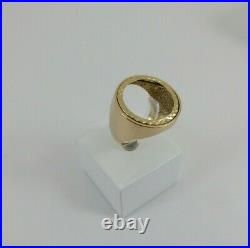 9ct Gold Coin Ring Half Sovereign Mount Hallmarked 7.4gram size R with gift box