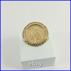 9ct Gold Coin Ring St. Christopher Hallmarked 3.9grams 19mm size S 1/2 boxed