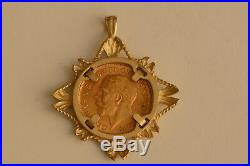 9ct Yellow Gold Mount With 22ct George V Half Sovereign 1914 Coin Pendant UK