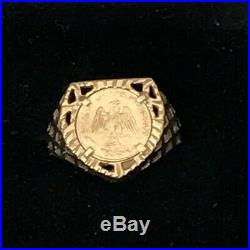 9ct Yellow Gold Small Sovereign Ring Size M Emperador Maximiliano 1865 Coin