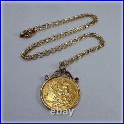 9ct gold Genuine 1912 Half-Sovereign Coin Pendant