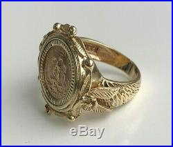 9k solid gold & 1945 22k Dos Pesos coin ring 8.34g size K 1/4 5 1/4
