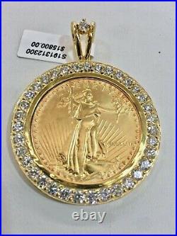 AM. EAGLE 1 OZ GOLD COIN PENDENT With DIA. BEZEL APPOX. 6 TDW 14K FRAME 51 GRAM
