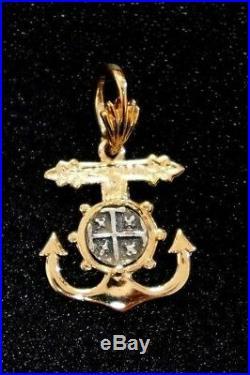 ATOCHA Coin 14K Yellow Gold Anchor Ship Wheel Sunken Treasure Shipwreck Jewelry