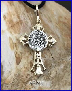 ATOCHA Coin 14k Yellow Gold Cross Filigree Sunken Treasure Pendant