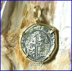 ATOCHA Coin Pendant 14k Gold Frame with 8 Reale Silver Treasure Shipwreck Jewelry