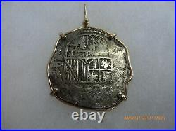 ATOCHA Coin Pendant 14k Gold Freeform 8 Reale Silver Treasure Shipwreck Jewelry