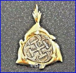 ATOCHA Coin Pendant Dolphin 14K Gold Sunken Treasure Shipwreck Jewelry
