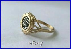 ATOCHA Coin Ring 14k Gold Bamboo Ring Sunken Treasure Shipwreck Coin Jewelry
