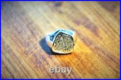 ATOCHA Coin Ring Mens 14K White or Yellow Gold Treasure Shipwreck Coin Jewelry