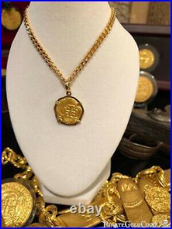 ATOCHA GOLD PENDANT NECKLACE CHAIN 2 ESCUDOS 22k SHIPWRECK TREASURE JEWELRY COIN