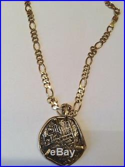 ATOCHA Pendant 14k Gold Large. 4 Reale Silver Coin Treasure Shipwreck