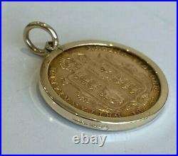 A 22k gold 1892 Half Sovereign Coin in 9ct gold Pendant / Charm 5.0g