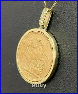 A 22k gold 1900 full Sovereign Coin with Diamond in 9ct gold mount Pendant 12.15g