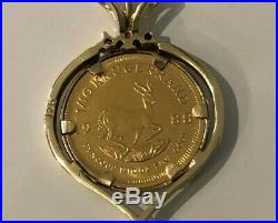A 22k gold 1/10 KRUGERRAND Coin & Diamond Pendant 5.68g