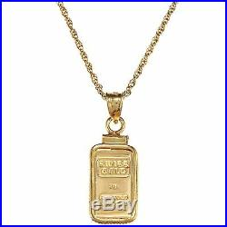 American Coin Treasures 1-gram Gold Ingot Pendant Necklace Yellow
