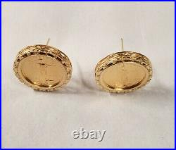 American Eagle Gold 1/10 oz Coins in 14k Yellow Gold Diamond Cut Earrings