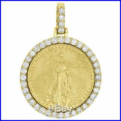 American Eagle Liberty Coin Diamond Mounting Pendant 3 CT. 14K Yellow Gold Over