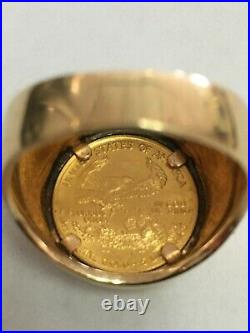 American Gold Eagle 5 Dollar Gold Coin 14kt Yellow Gold Men's Ring
