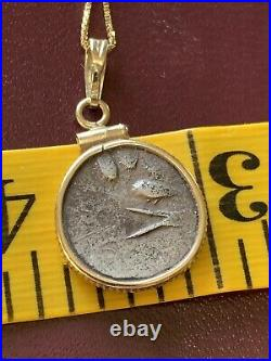Ancient Coin Pendant. Celt Volcae Tectosage. 14k Yellow Gold With 10k Chain 18