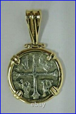 Ancient Spanish 2 Reales Silver Coin 14k Yellow Gold Bezel Pendant 1-1/8